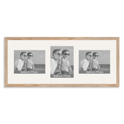 Solid Oak Multi Aperture Photo Frame for Three 8x6/6x8in Photos (lpl)