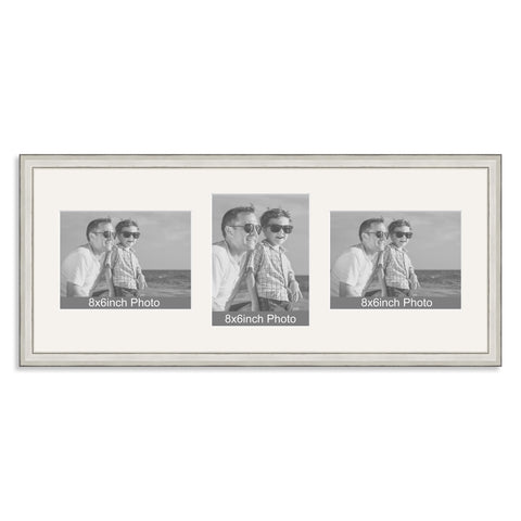 Silver Wooden Multi Aperture Photo Frame for Three 8x6/6x8in Photos (lpl)