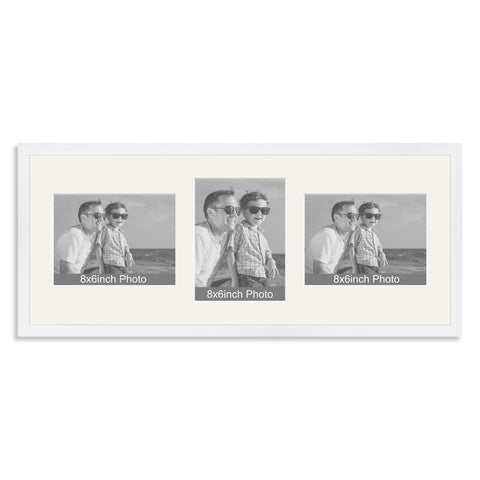 White Wooden Multi Aperture Photo Frame for Three 8x6/6x8in Photos (lpl)