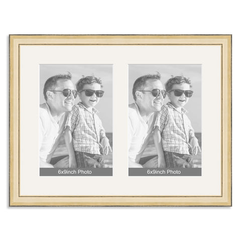 Gold Wooden Multi Aperture Photo Frame for two 9x6/6x9in Photos