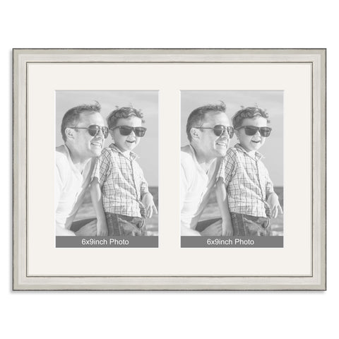 Silver Wooden Multi Aperture Photo Frame for two 9x6/6x9in Photos