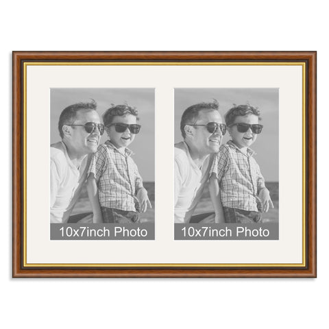 Mahogany and Gold Wooden Multi Aperture Photo Frame for two 10x7/7x10in Photos