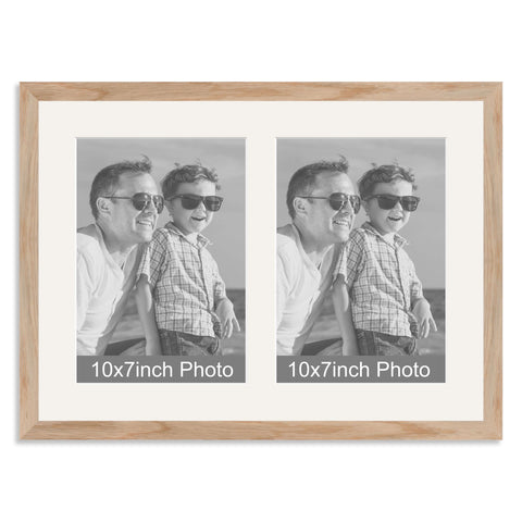 Solid Oak Multi Aperture Photo Frame for two 10x7/7x10in Photos