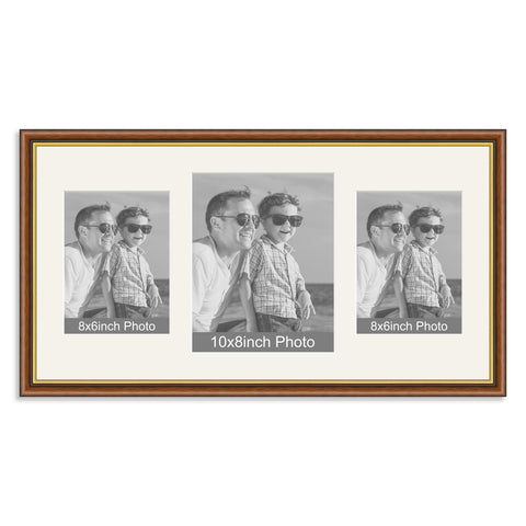 Mahogany and Gold Wooden Multi Aperture Photo Frame for a 10x8/8x10in & two 8x6/6x8in Photos