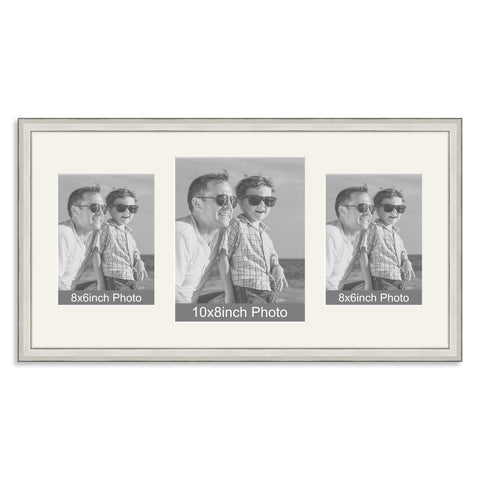 Silver Wooden Multi Aperture Photo Frame for a 10x8/8x10in & two 8x6/6x8in Photos