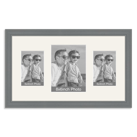 Grey Wooden Multi Aperture Photo Frame for a 8x6/6x8in & two 6x4/4x6in Photos