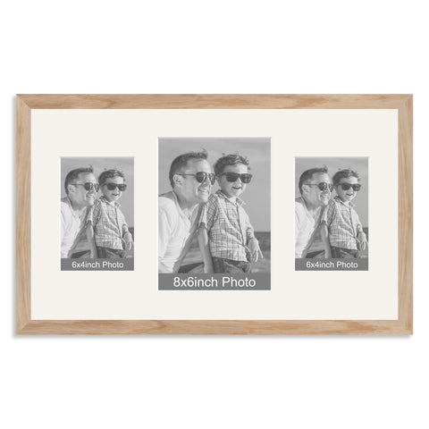 Solid Oak Multi Aperture Photo Frame for a 8x6/6x8in & two 6x4/4x6in Photos