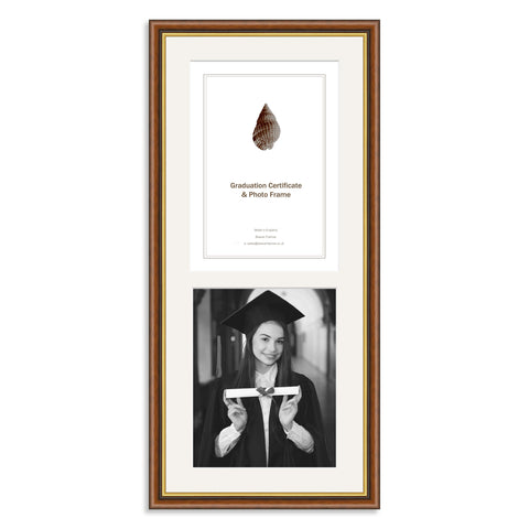 Mahogany and Gold Wooden Graduation Frame for A4 Certificate and 10x8/8x10in Photo