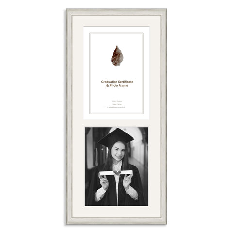 Silver Wooden Graduation Frame for A4 Certificate and 10x8/8x10in Photo