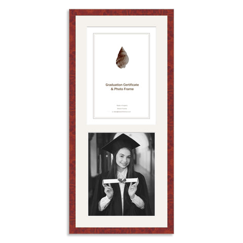 Real Walnut Veneer Wooden Graduation Frame for A4 Certificate and 10x8/8x10in Photo