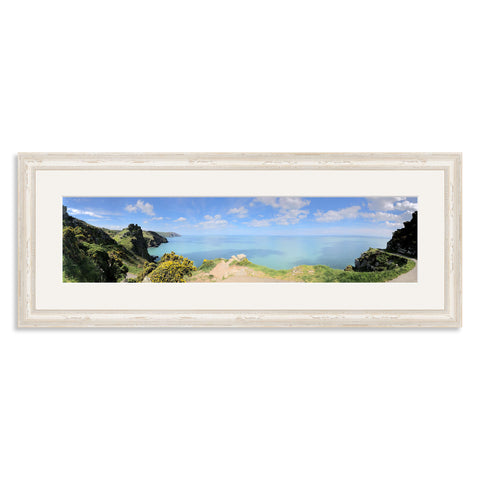 White Shabby Chic Wooden Panoramic Photo Frame for a 20x5/5x20in Photo [4:1 Ratio]