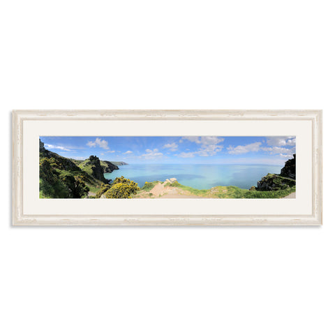 White Shabby Chic Wooden Panoramic Photo Frame for a 24x6/6x24in Photo [4:1 Ratio]