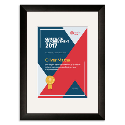 Elite Collection: Black Wooden Frame and Mount for an A5 Certificate Off White Mount