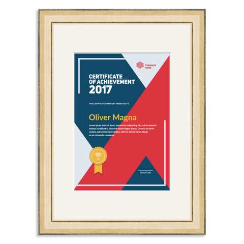 Elite Collection: Gold Wooden Frame and Mount for an A5 Certificate Off White Mount
