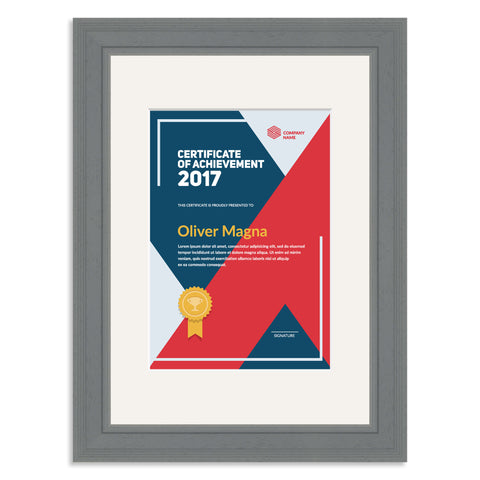 Elite Collection: Grey Wooden Frame and Mount for an A5 Certificate Off White Mount