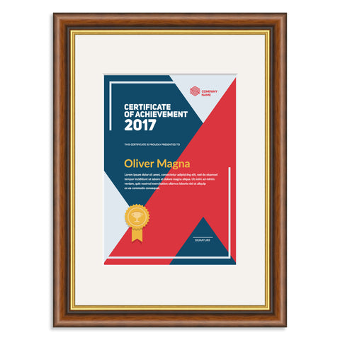 Elite Collection: Mahogany and Gold Wooden Frame and Mount for an A5 Certificate Off White Mount
