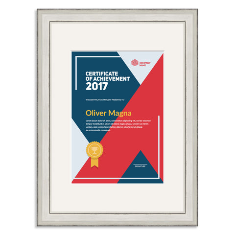 Elite Collection: Silver Wooden Frame and Mount for an A5 Certificate Off White Mount