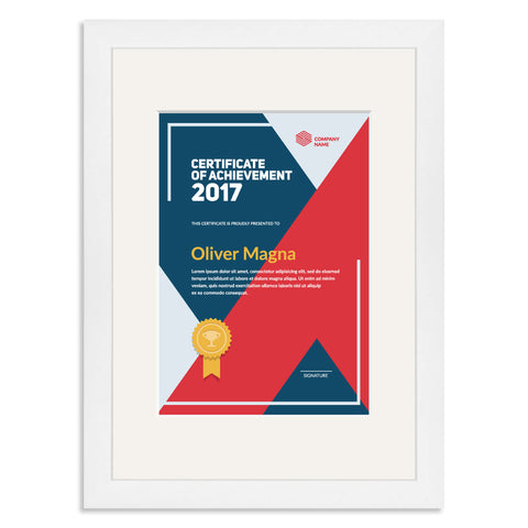 Elite Collection: White Wooden Frame and Mount for an A5 Certificate Off White Mount
