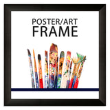 10 x 10inch Matt Black Wooden Poster / Art Frame with real Picture Glass