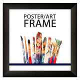20 x 20cms Matt Black Wooden Poster / Art Frame with real Picture Glass