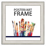 20 x 20cms Silver Wooden Poster / Art Frame with real Picture Glass