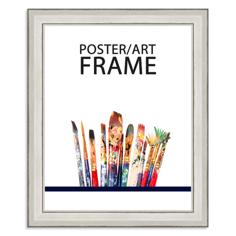 20 x 25cms Silver Wooden Poster / Art Frame with real Picture Glass