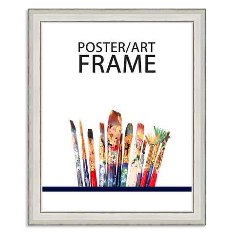 24 x 30cms Silver Wooden Poster / Art Frame with real Picture Glass
