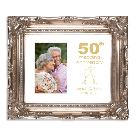 Personalised 50th Gold Wedding Anniversary Photo Frame for 6x4/4x6in photo