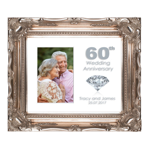 Personalised 60th Diamond Wedding Anniversary Photo Frame for 6x4/4x6in photo