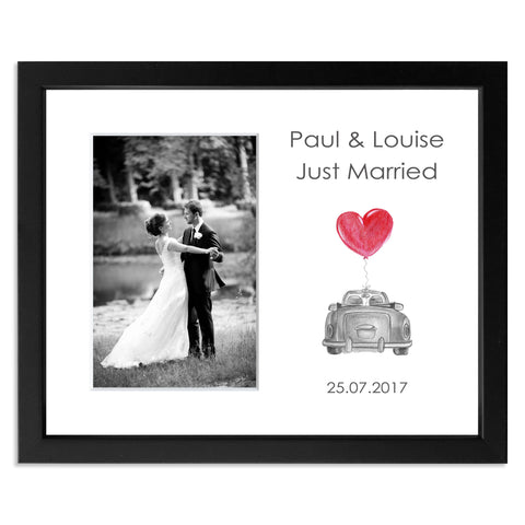 Just Married Photo Frame in black for 6x4inch photo