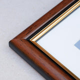 20 x 25cms Mahogany and Gold Wooden Poster / Art Frame with real Picture Glass