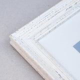 White Shabby Chic Wooden Photo Frame with mount for a 8x8in Photo