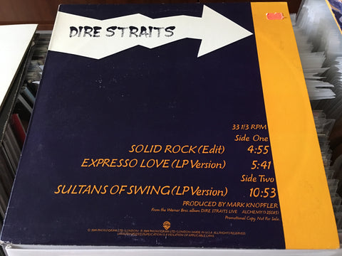 "Dire Straits -  Solid Rock / Expresso Love / Sultans Of Swing 12"" Promo Single 33⅓rpm (Out Of Print) (Graded:NM/NM)"
