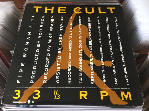 "The Cult ‎– Fire Woman 12"" Promo Single 33⅓rpm (Out Of Print) (Graded:NM/NM)"