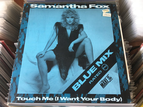 "Samantha Fox ‎– Touch Me (I Want Your Body) (Blue Mix) 12"" Blue Maxi-Single 45rpm (Out Of Print) (Graded:NM/NM)"