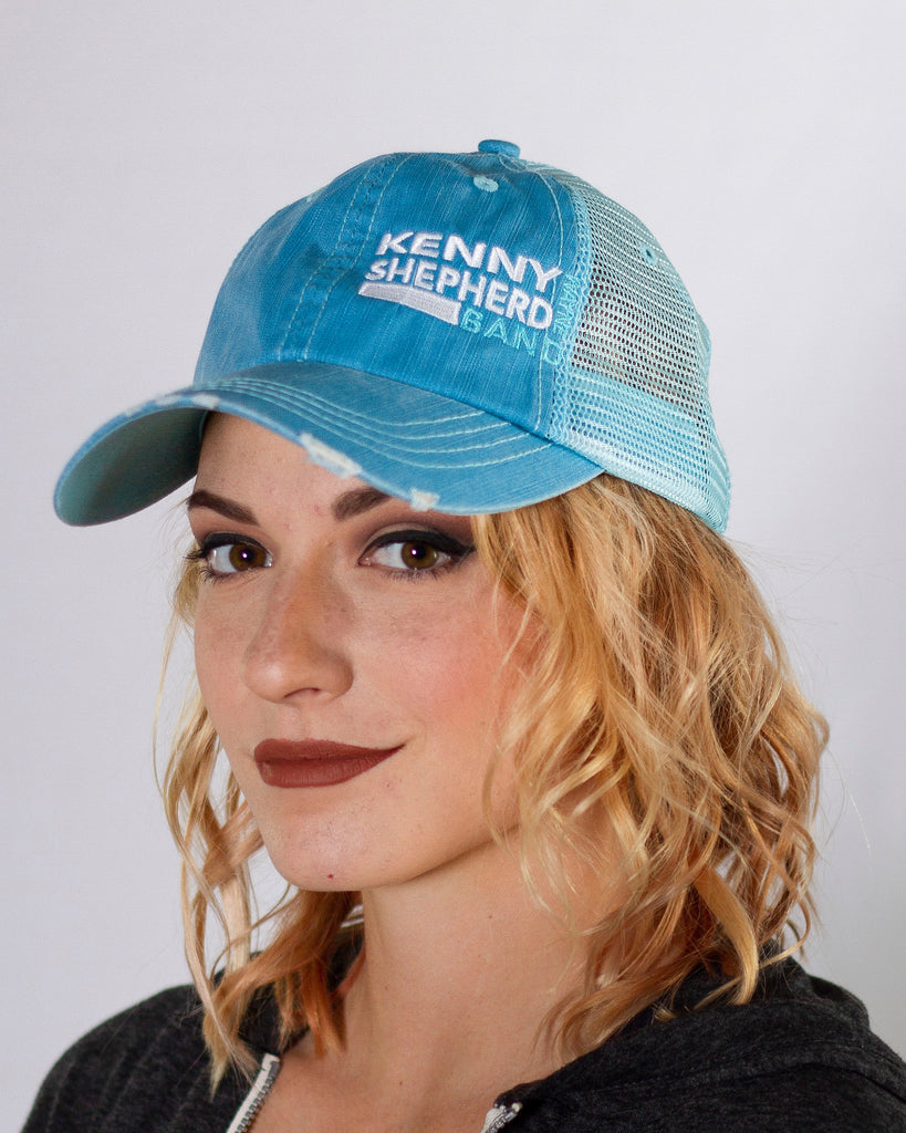 Blue washed out mesh Logo Baseball Cap