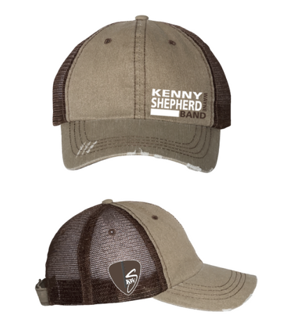 Tan washed out Brown mesh with white Logo Baseball Cap