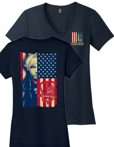 """Ladies"" Bella t-shirt with Red White & Blue V-Neck"