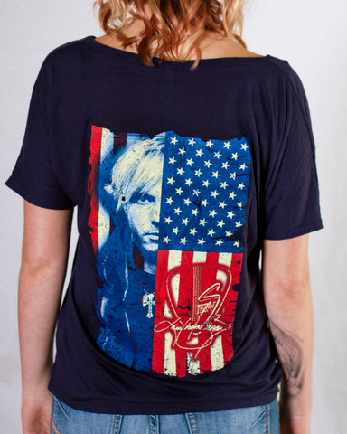 """Ladies"" Red White & Blue V-Neck"