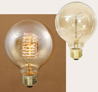 40 watt vintage style balloon bulb with spiral filament