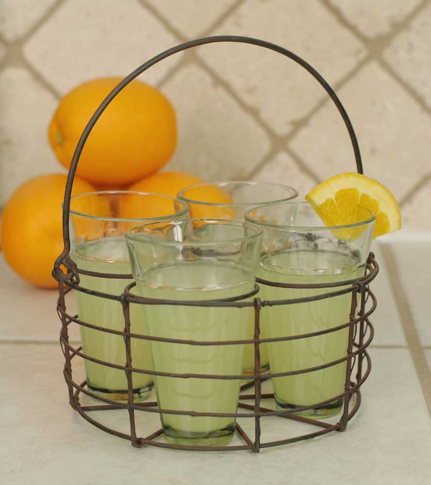 Round Wire Caddy with 4 Glasses Green/Rust