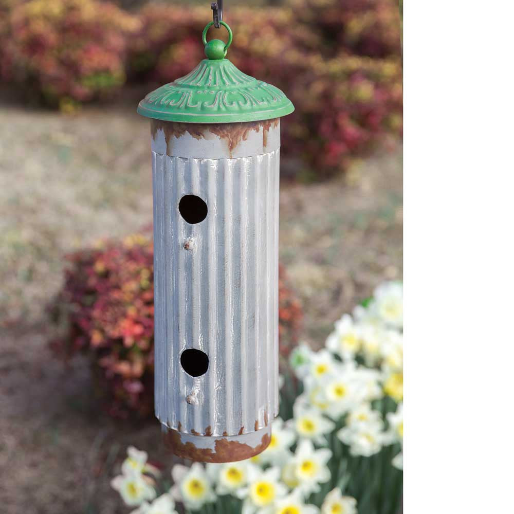 Metal Bird House with Green Roof