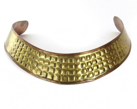 Vintage Brass & Copper Textured Choker Necklace