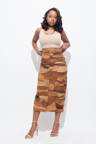 Vintage Monochromatic Patchwork Suede Skirt
