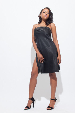 Vintage Black Slip Dress with Side Slits