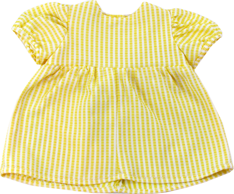 Vintage Yellow & White Gingham Baby Doll Dress