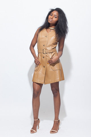 Edited Vintage Camel Leather A-Line Button Down Mini Dress