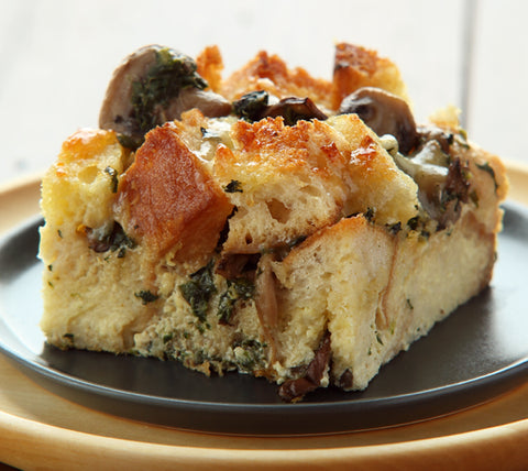 Spinach and Shroom Bread Pudding