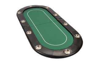 Riverboat Folding Poker Table Top in Green Speed Cloth and Case - 200cm