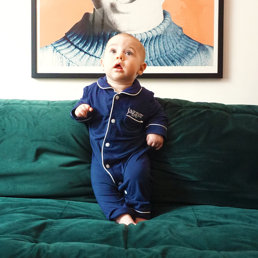Navy Christmas Baby Romper